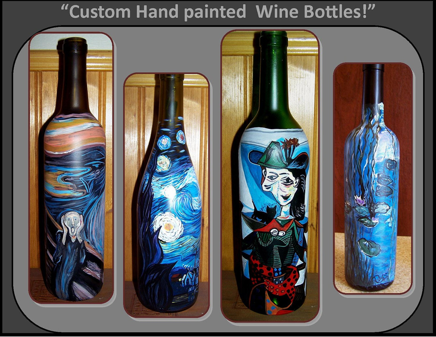 Wine bottle art painting the image kid for Painted wine bottles
