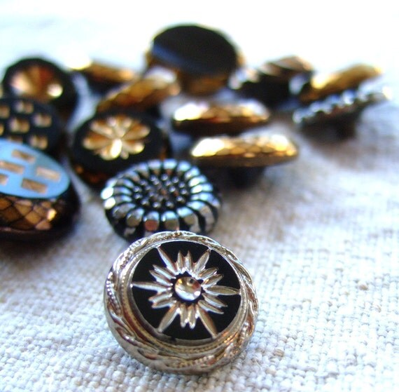 14 czech buttons vintage black and gold glass buttons and black and silver glass buttons