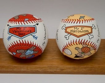 Babys First Year Baseball Set- girl, Baby Shower Gift, Personalize Baby Gift, Baby Girl (4BB02)