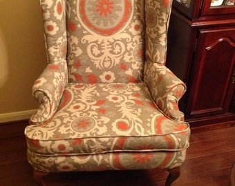 wingback chair - recycled frame with new custom upholstery