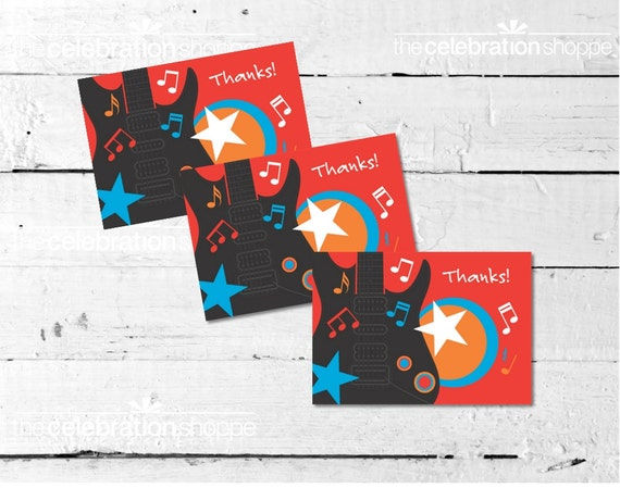 ROCK STAR Birthday Party Thank You NOTES from The Celebration Shoppe