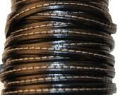 Black stitched leather strap 5 mm wide - Cuir vachette surpiqué 5 mm noir