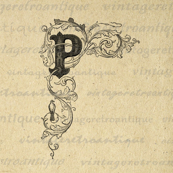 Elegant Letter P Digital Graphic Image By VintageRetroAntique