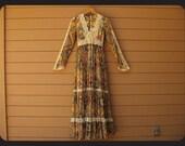 70s Gunne Sax by Jessica McClintock Romantic Victorian Prairie Renaissance Hippie Lace Gauze Dress XS Xsmall S Small