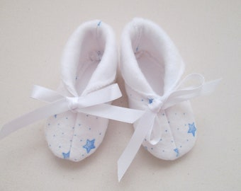 Baby Blue Stars Flannel/White Fleece Lined Booties - Made to Order