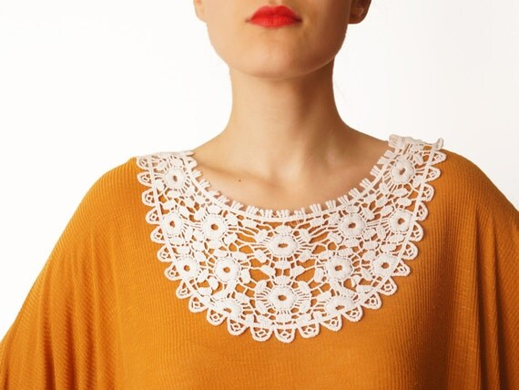 Arenia // Handmade Ivory Crochet Cotton Lace Collar Necklace Applique Chain Harness Blouse Accessories