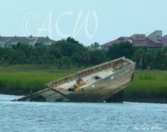 Wreck off Folly  Island South Carolina (canvas)