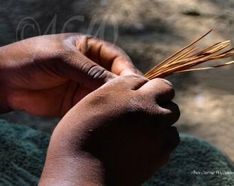 Sweet Grass Basket Weaver's Hands South Carolina (PR) ( 16 x 20 canvas)