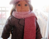 American Girl Hand Knit Pom Pom Beret and Scarf, Pink Two-Tone