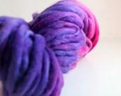 hand dyed purple yarn merino thick and thin slub Heart of Darkness purple