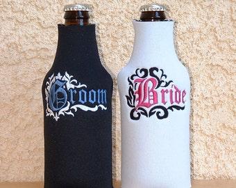 Bride & Groom Beer Cozy's, set of 2