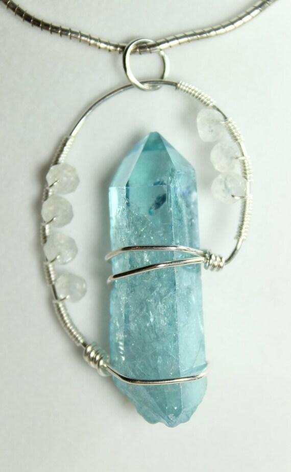 handmade healing crystal pendant reiki infused aqua aura