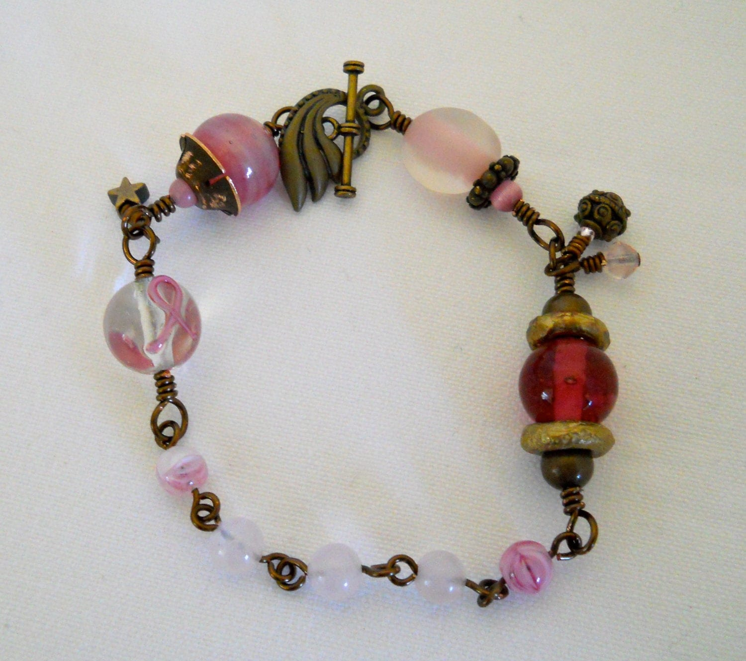 breast cancer awareness beaded bracelet three by