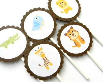 12 Baby Safari Cupcake Toppers, Jungle Animals, Jungle Theme, Jungle Birthday, Baby Shower, Jungle Party, First Birthday, Baby Animals