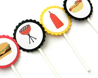 12 BBQ Cupcake Toppers, Cook Out Theme, Birthday Toppers, BBQ Theme, Birthday Decor, Grilling Toppers, Cooking Party, Cook Out Birthday