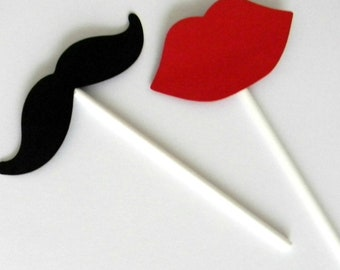 12 Gender Reveal Cupcake Toppers, Mustache Toppers, Red Lips, Props, Little Man, Little Lady, Baby Shower, Gender Reveal, Girl or Boy