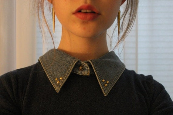 Gold Studded Denim Detachable Collar