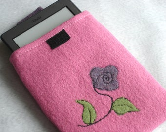 Pink and Purple Case for Kindle,  e-reader, Recycled 100 % lambswool Sweater with a Needle Felted Floral Design