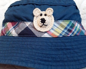 Boys Baby Infant Toddler Fishing Bucket Hat - Handmade Teddybear Face -  Navy Blue with Plaid Trim - Sizes 6-12, 18-24 months,  and 3T-4T