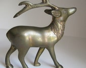 Vintage Brass Deer: Woodland Animal Figurine with Reindeer Antlers and Patina - Desk Accessory or Decorative Home Decor