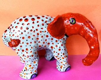 Large Blue Spotted Elephant - Mexican Inspired Sculpture