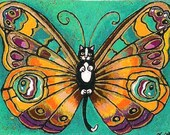 ACEO Darling cute Tiny Tuxedo Catterfly Butterfly Cat Kitten Fairy Fantasy Art MINI PRINT of original by K.McCants