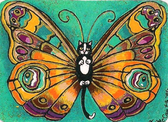 ACEO Darling cute Tiny Tuxedo Catterfly Butterfly Cat Kitten Fairy Fantasy Art MINI PRINT of original by K.McCants