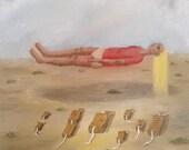 Original oil painting on canvas - Levitation exercise