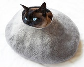 Grey Cat Bed Cave House Felted Wool with FREE Cat Ball- Medium or small