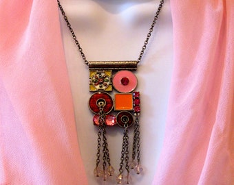 Metal, Enamel and beaded Necklace