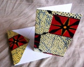 Greeting Card Blank with matching Envelope African Fabric Recycled Paper