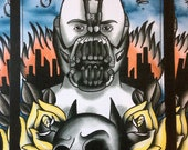 the dark knight rises BANE PRINT batman tom hardy Tattoo art ink painting print