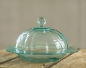 RESERVED FOR KIMBERLEE - Federal Glass - Madrid Pattern - turquoise depression glass butter dish