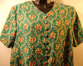 Vintage, Leslie Faye, 14 P, Knee Length, Short Sleeve. Green, Yellow, Floral