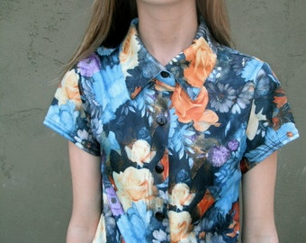 Floral Print Button Up 90s