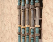 "Rustic Details - Adobe Church. Original Fine Art Photograph-8"" x 10""-Premium Photo Paper-MATTED-Peach-Blue-Brown-Grey-Adobe-Wood-Quaint"