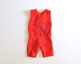SALE: Vintage Red Corduroy Outfit for Baby Girl or Boy with Elephant Detail 3-6 Mos
