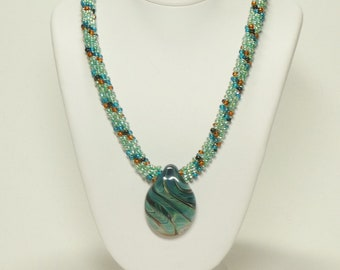 Blue Green Kumihimo Necklace with Blue/Green Lampwork Pendant SRAJD 3520 LETeam