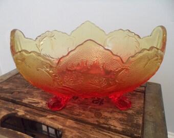 Carnival Glass Footed Banana Boat Bowl
