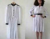 VINTAGE White & Black Dots Dress