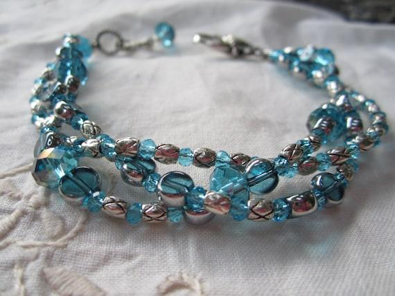 Teal Blue Crystal Bracelet