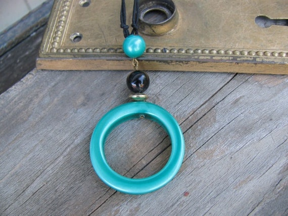 Teal Green and Black Upcycled Choker Necklace, 80s Retro, Statement Necklace, Eco-Friendly Jewelry, Layering Choker, Adjustable Black Cord