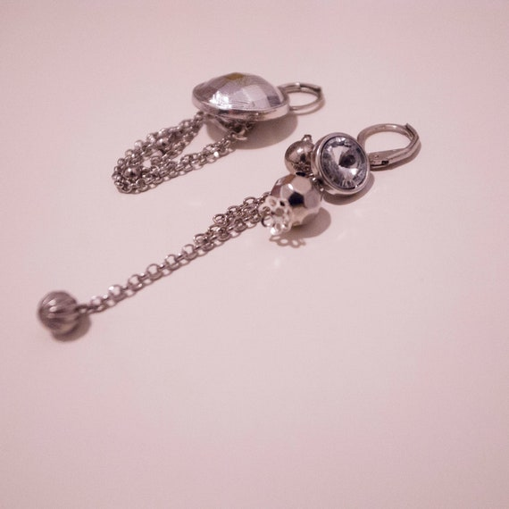 Classic Silver Check & Sparkling Long Dangle Button Earrings - Custom Order Available
