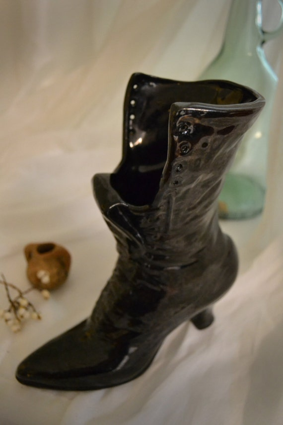 Vintage Ceramic Black Boot Vase