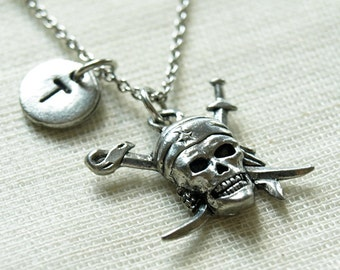 Pirate Skull Necklace, Pirate charm necklace, Piracy necklace, Silver pirate skull charm, initial necklace, personalized, monogram