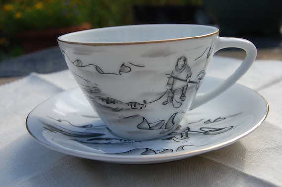 Reserved for Anne Seal Hunt cup and saucer hand painted by Robert Mayokok-Inupiaq