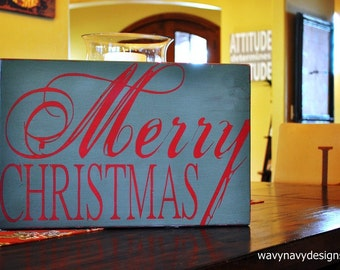 Christmas Sign, Christmas Decoration Custom Wood Sign - Merry Christmas - Typography Word Art, Hand Painted Home decor
