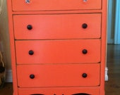 Vintage Coral Dresser with Crystal and Army knobs