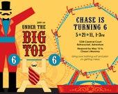 Circus Big Top Birthday Party Invitation, DIY Printing