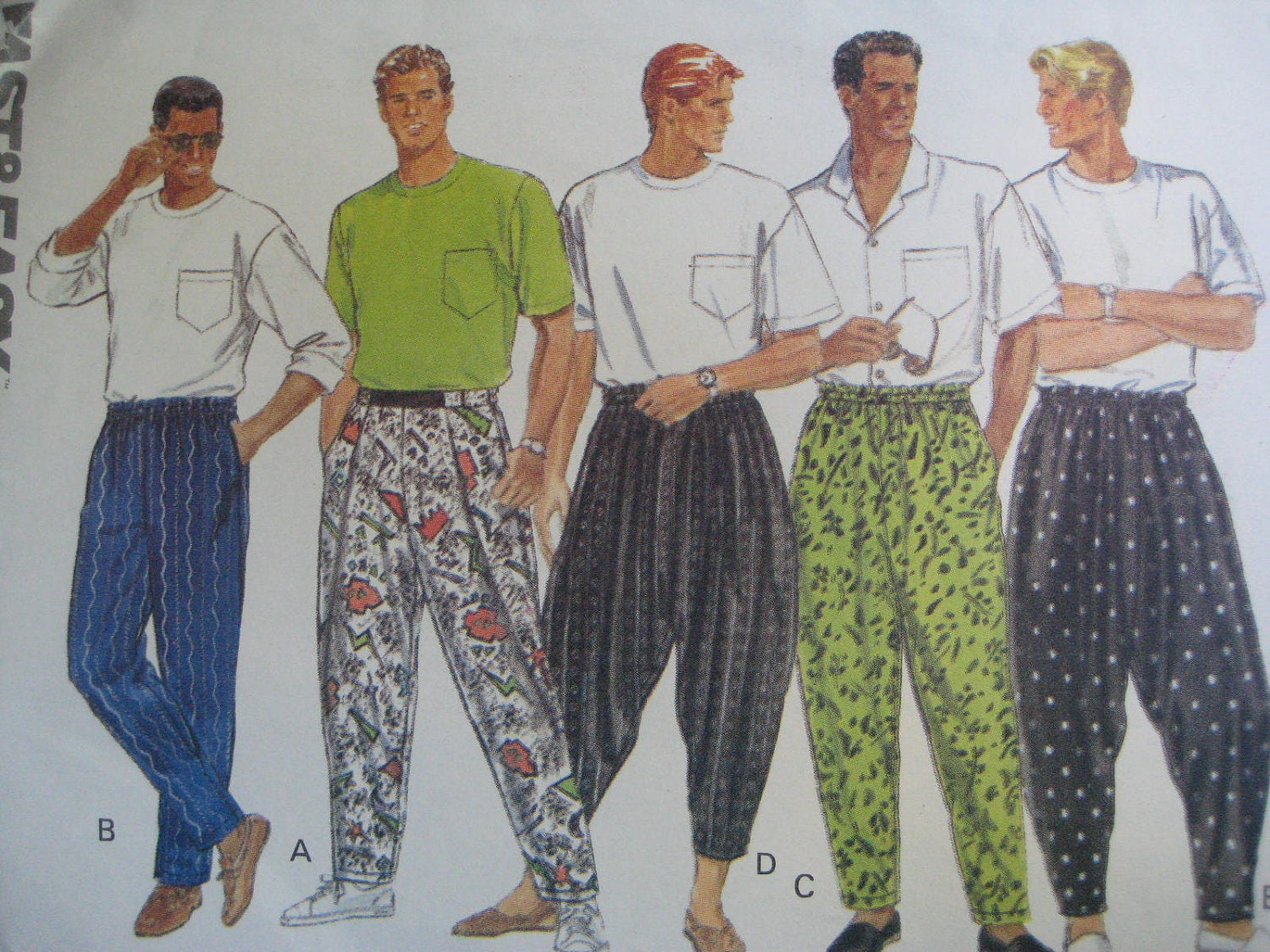 vintage 1990 butterick mens novelty pants parachute style 5228